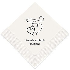 Personalized Foil Printed Paper Napkins - Double Hearts