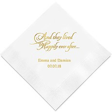Personalized Foil Printed Paper Napkins - Happily Ever After