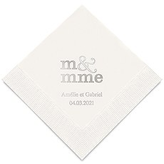 Personalized Foil Printed Paper Napkins - Monsieur & Madame - M & Mme