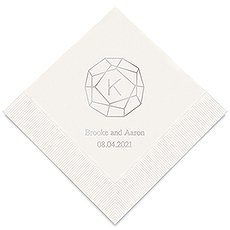 Personalized Foil Printed Paper Napkins - Gemstone Initial