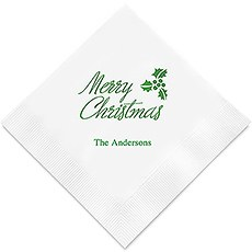 Personalized Foil Printed Paper Napkins - Merry Christmas