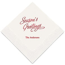 Personalized Foil Printed Paper Napkins - Seasons Greetings
