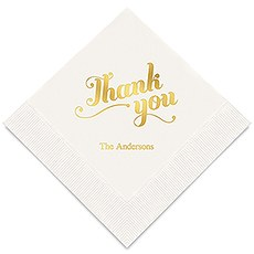 Personalized Foil Printed Paper Napkins - Thank You