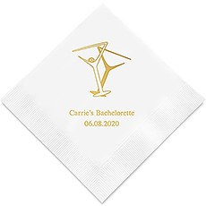 Personalized Foil Printed Paper Napkins - Martini Glasses
