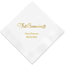 Personalized Foil Printed Paper Napkins - First Communion