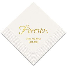 Personalized Foil Printed Paper Napkins - Forever