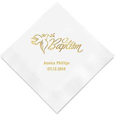 Personalized Foil Printed Paper Napkins - Baptism