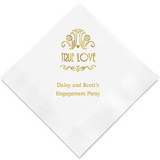 Personalized Foil Printed Paper Napkins - True Love