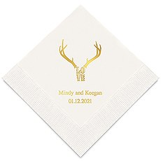 Personalized Foil Printed Paper Napkins - Love Antlers