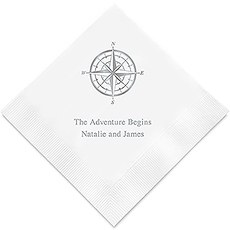 Personalized Foil Printed Paper Napkins - Vintage Travel Compass
