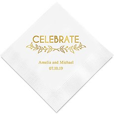 Personalized Foil Printed Paper Napkins - Woodland Pretty Celebrate