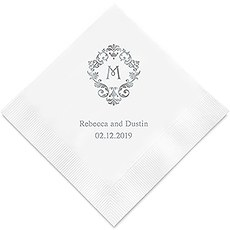 Personalized Foil Printed Paper Napkins - Classic Filigree Initial