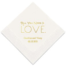 All You Need is Love Printed Paper Napkins
