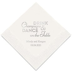 Personalized Foil Printed Paper Napkins - Champagne & Dance