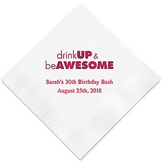 Personalized Foil Printed Paper Napkins - Drink Up