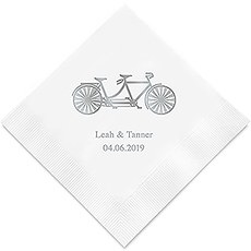Personalized Foil Printed Paper Napkins - Tandem Bike