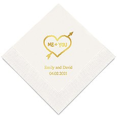 Personalized Foil Printed Paper Napkins - Me+You In Heart And Arrow