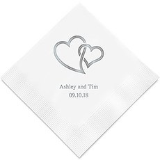 Linked Double Hearts Printed Paper Napkins