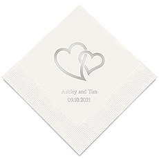 Personalized Foil Printed Paper Napkins - Linked Double Hearts