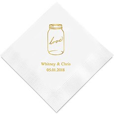 Personalized Foil Printed Paper Napkins - Mason Jar Love