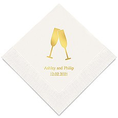 Personalized Foil Printed Paper Napkins - Champagne Flutes
