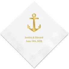 Personalized Foil Printed Paper Napkins - Anchor