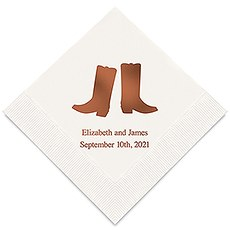 Personalized Foil Printed Paper Napkins - Western Boots