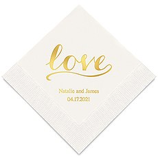 Personalized Foil Printed Paper Napkins - Love Signature