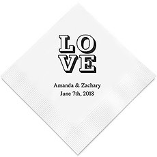 Personalized Foil Printed Paper Napkins - Love Stack