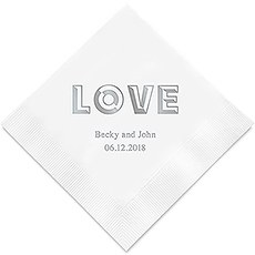 Personalized Foil Printed Paper Napkins - Bold Love