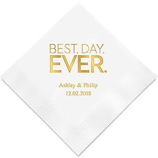 Personalized Foil Printed Paper Napkins - Best Day Ever Block Style