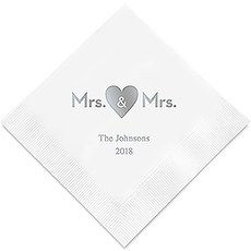 Personalized Foil Printed Paper Napkins - Mrs & Mrs Same Sex Heart
