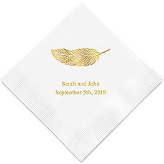 Personalized Foil Printed Paper Napkins - Feather Whimsy