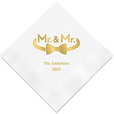 Personalized Foil Printed Paper Napkins - Mr. & Mr. Same Sex Single Bowtie