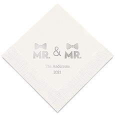 Personalized Foil Printed Paper Napkins - Mr. & Mr. Same Sex Double Bowtie