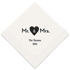 Personalized Foil Printed Paper Napkins - Mr & Mrs Heart