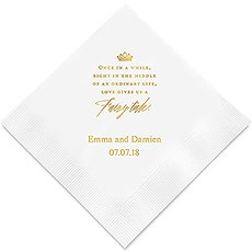 Personalized Foil Printed Paper Napkins - Love Gives Us A Fairy Tale