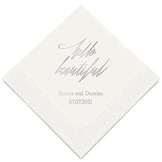 Personalized Foil Printed Paper Napkins - Hello Beautiful
