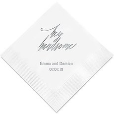 Personalized Foil Printed Paper Napkins - Hey Handsome