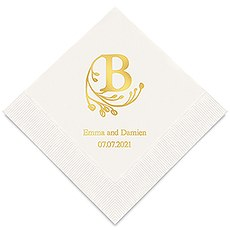 Personalized Foil Printed Paper Napkins - Modern Fairy Tale Initial