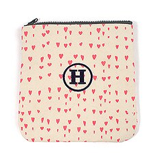 Large Personalized Women's Makeup Bag Pouch- Pink Hearts