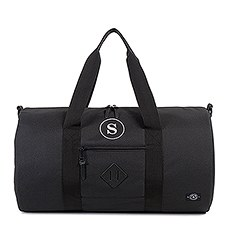 Large Personalized Weekender Fabric Tote Bag- Black Leather/Polyester