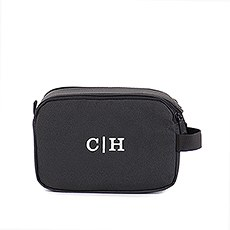 Personalized Men's Double Zip Travel Toiletry Bag - Black Polyester with Leather Detail
