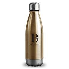 Personalized Gold Metal Cola Shaped Water Bottle – Modern Serif Monogram Print