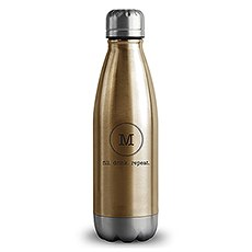 Personalized Gold Metal Cola Shaped Water Bottle – Circle Monogram Print