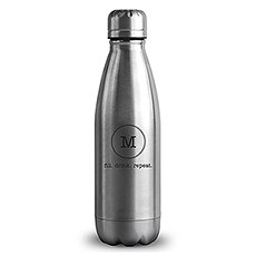 Personalized Silver Metal Cola Shaped Water Bottle – Circle Monogram Print