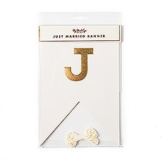 "Gold Foil ""Just Married"" Pennant Banner"
