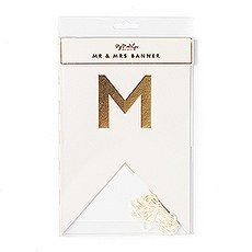 "Gold Foil ""Mr & Mrs"" Pennant Banner"
