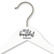 Personalized Wooden Wedding Clothes Hanger- Hello Beautiful