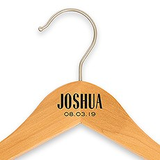 Personalized Wooden Wedding Clothes Hanger- Modern Print